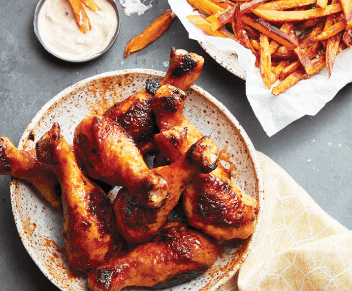 Chatelaine's sriracha drumsticks and sweet potato fries