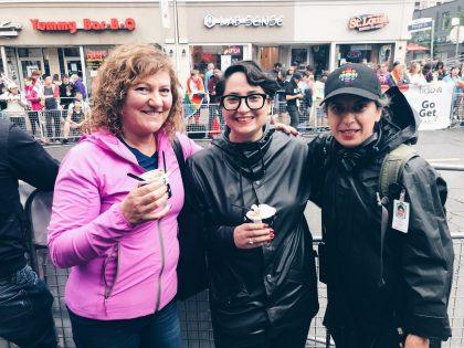 Heidi Ruggier with her mum, Marianna Ruggier-Casselman and partner Samira Mohyeddin. Pride Parade, 2018.